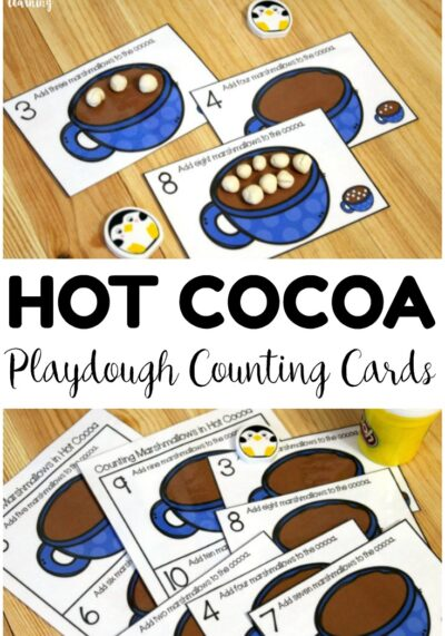 Add these hot cocoa playdough 1-10 counting cards to winter math centers for easy counting practice! Great for morning tubs too!