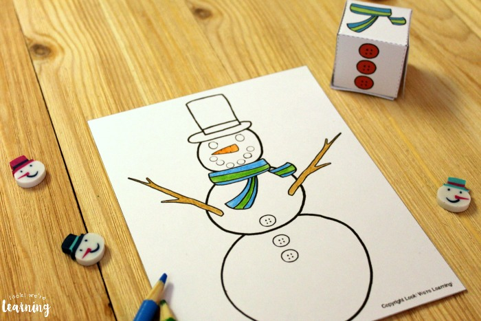 Easy Snowman Roll and Color Art Activity