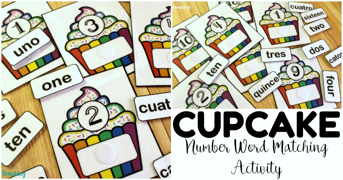 Fun Cupcake English and Spanish Number Word Matching Activity