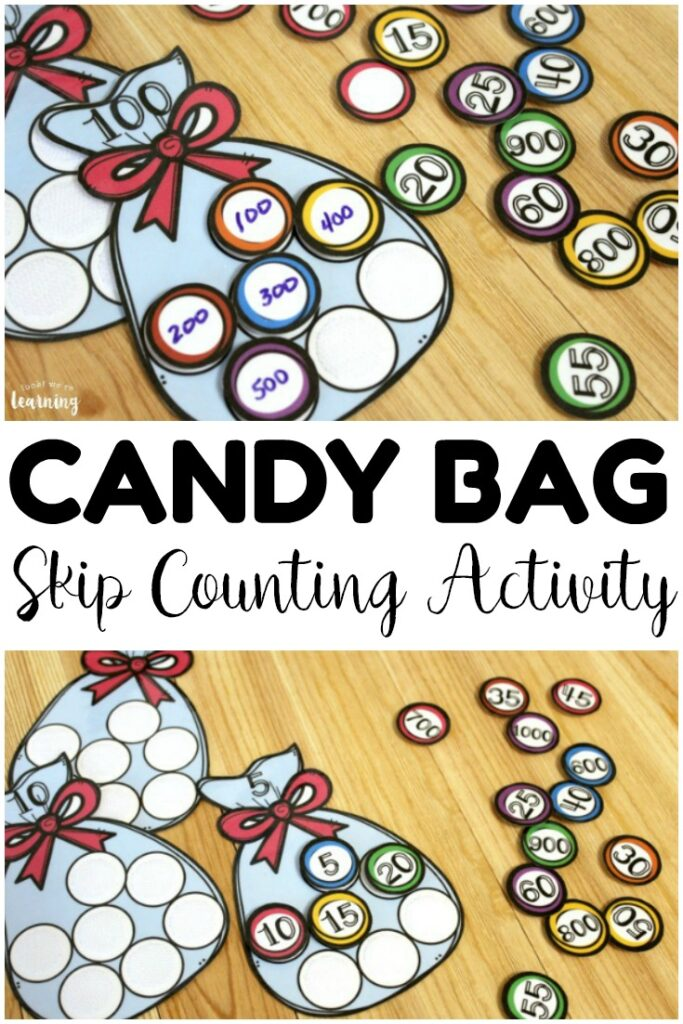 Help students practice skip counting by 5, 100, and 1000 with this hands on candy bag skip counting activity! Laminate these to reuse at second grade math centers!