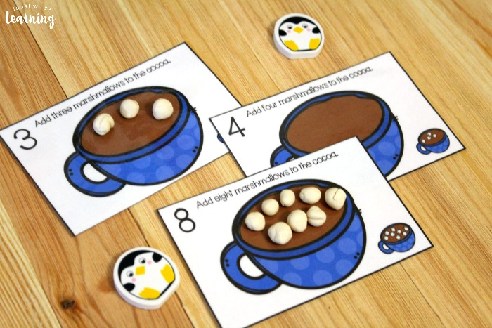 Hot Cocoa Playdough Counting Mats