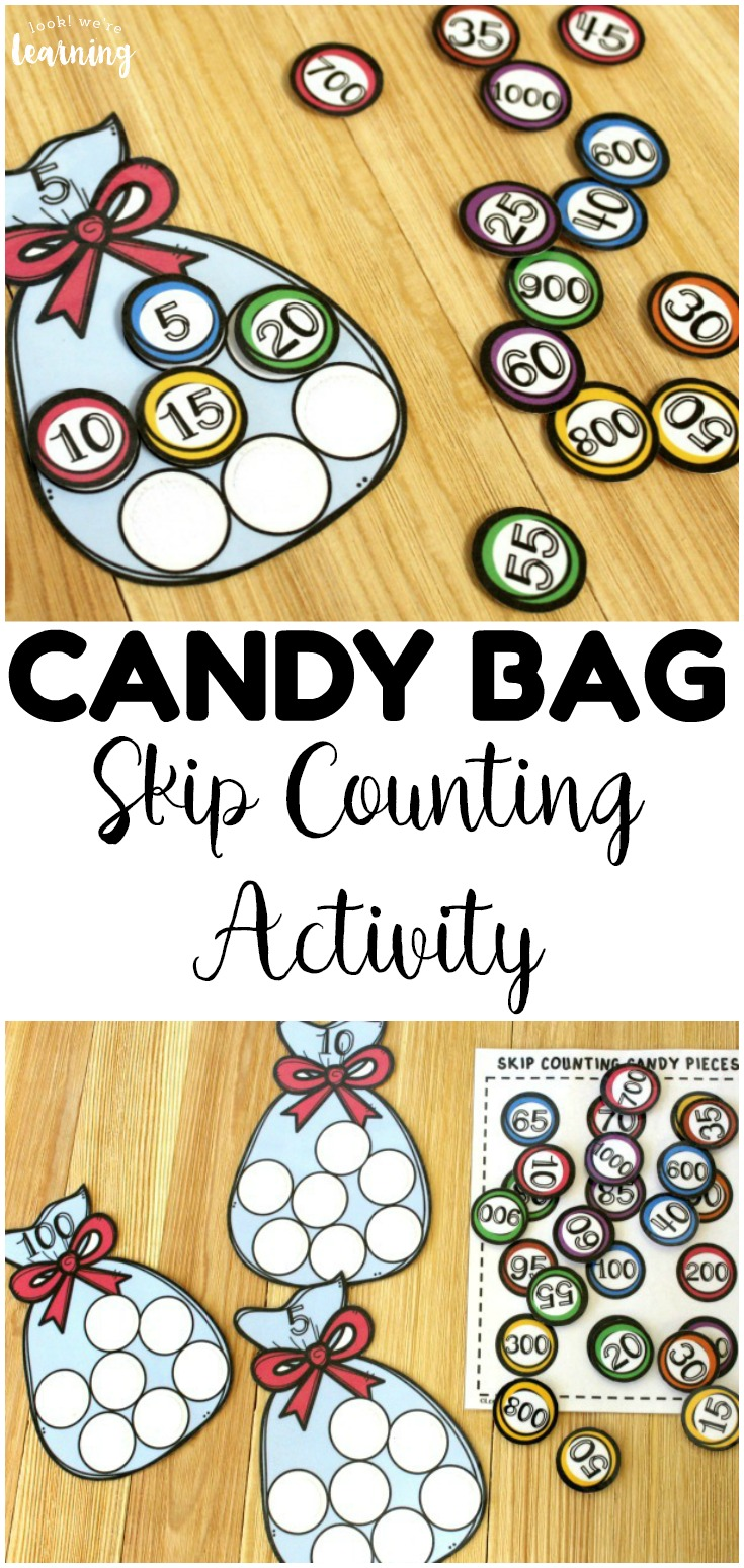Practice skip counting by 5, 100, and 1000 with this printable candy bag skip counting activity for second grade! Great for second grade math centers!