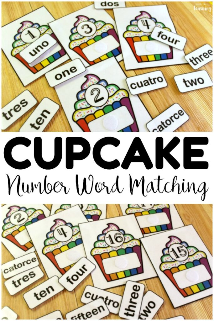 Pick up this cupcake English and Spanish number word matching activity to build number recognition with early grades! Perfect for math centers!