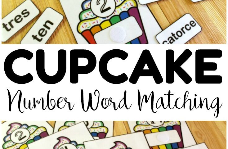 Cupcake English and Spanish Number Word Matching Activity