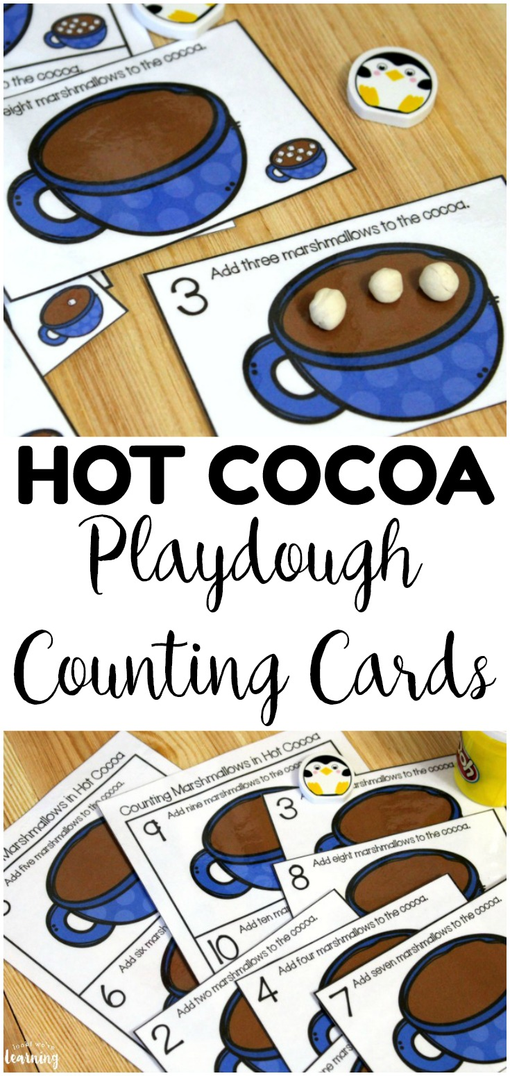 Practice counting from 1 to 10 with these fun hot cocoa 1-10 counting cards for kids! Great for winter math centers!