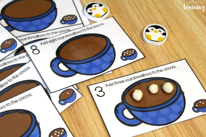 Printable Hot Cocoa Counting Cards for Kids