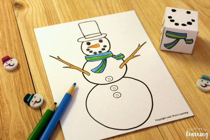 Printable Roll A Snowman Winter Art Activity