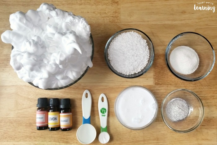 Supplies to Make Fluffy Snow Slime