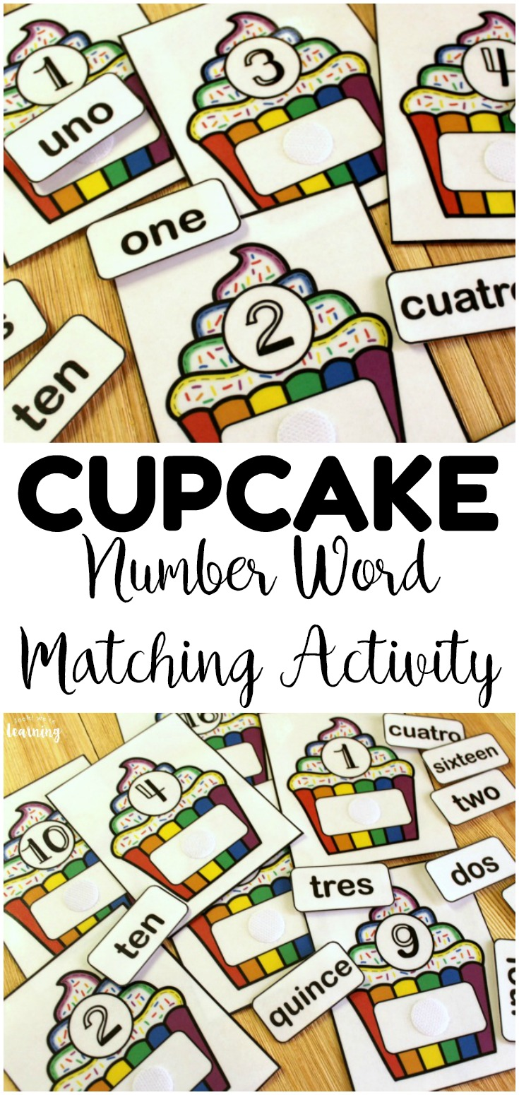 This hands on cupcake number word matching activity is so fun for early number recognition practice! Both English and Spanish number word labels are included!