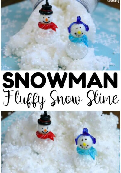 This fun and easy snowman slime is so fun for sensory play during winter! Mix up a few jars and hand them out as gifts for little ones!