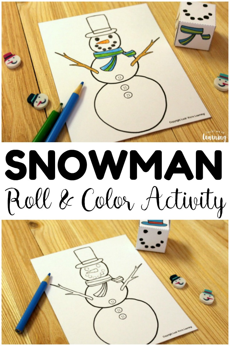 This quick roll a snowman winter art activity makes a great winter art game for kids!