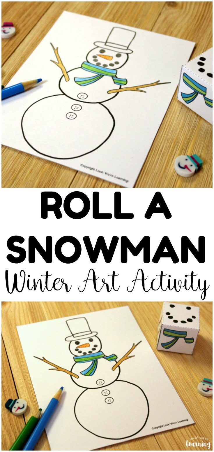 This simple roll a snowman winter art activity is perfect for quick winter art lessons! Great for early elementary winter units!