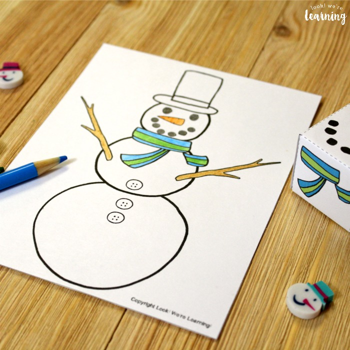 Winter Roll A Snowman Art Activity for Kids