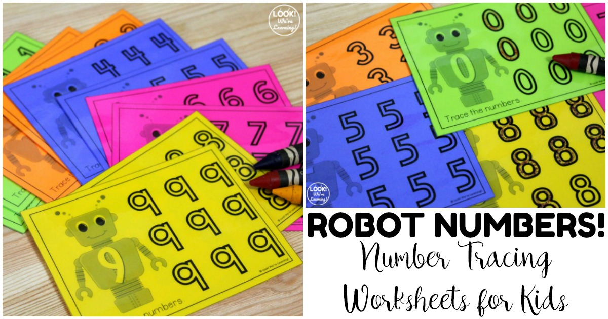Fun Robot Themed Number Tracing Worksheets