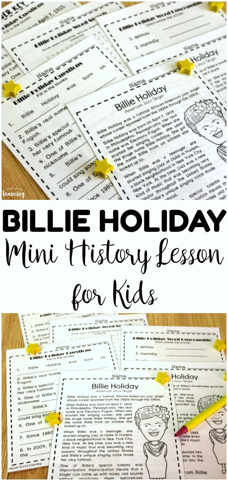 Learn about one of the first ladies of jazz with this mini Billie Holiday history lesson for kids! Perfect for teaching black history!