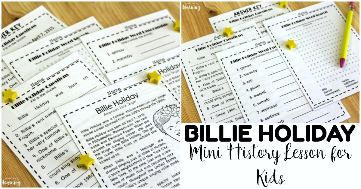 Mini Printable Billie Holiday History Lesson