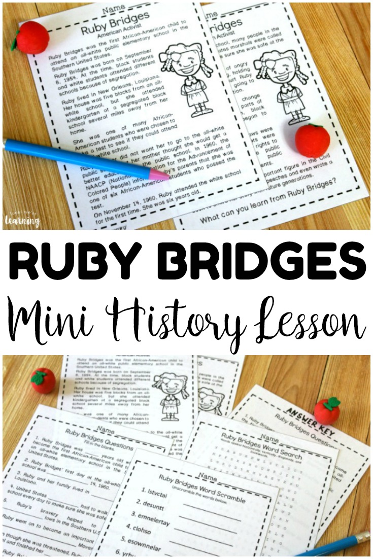 Pick up this mini Ruby Bridges history lesson for kids to introduce students to this black history activist! Great for early grades history!