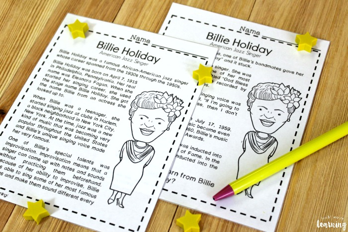 Printable Billie Holiday History Lesson