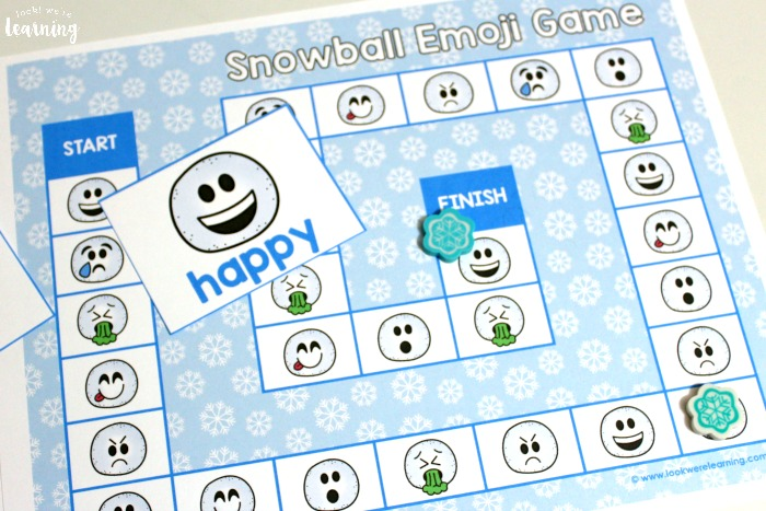 Printable Emotions Snowball Emoji Game for Kids