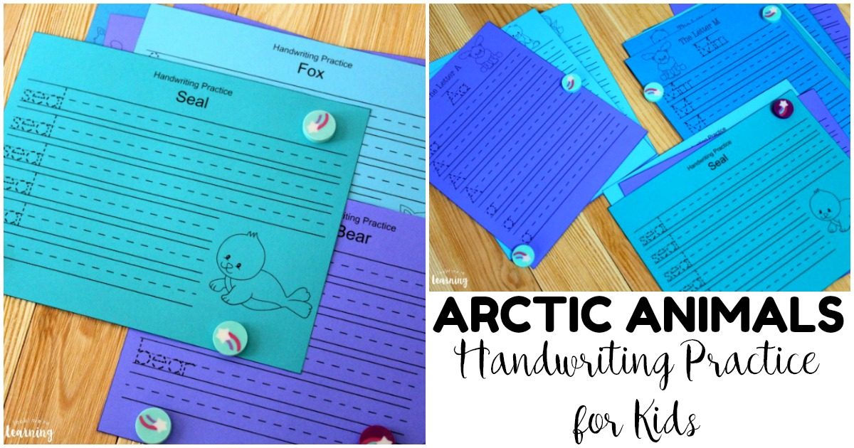Simple Arctic Animal Handwriting Practice Printables