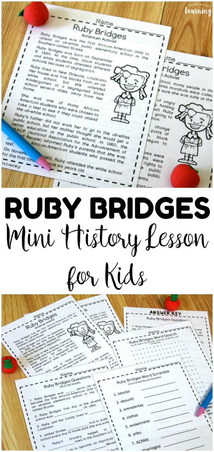 Teach students about the life of Ruby Bridges with this mini Ruby Bridges history lesson for kids! Great for Black History Month or an American history activity any time of year!