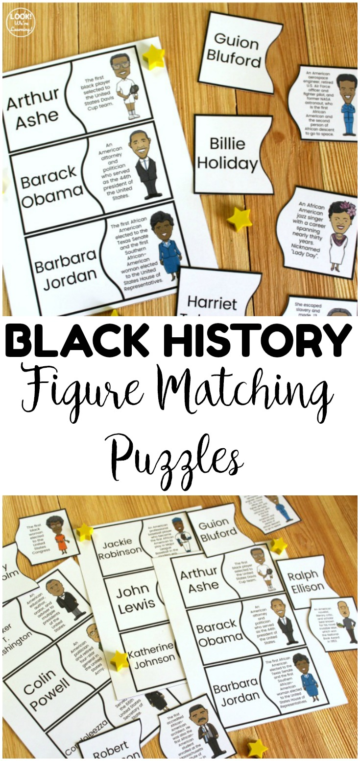 These printable black history figure puzzles are so fun for helping students get to know notable African Americans! Great for Black History Month or an American history lesson!