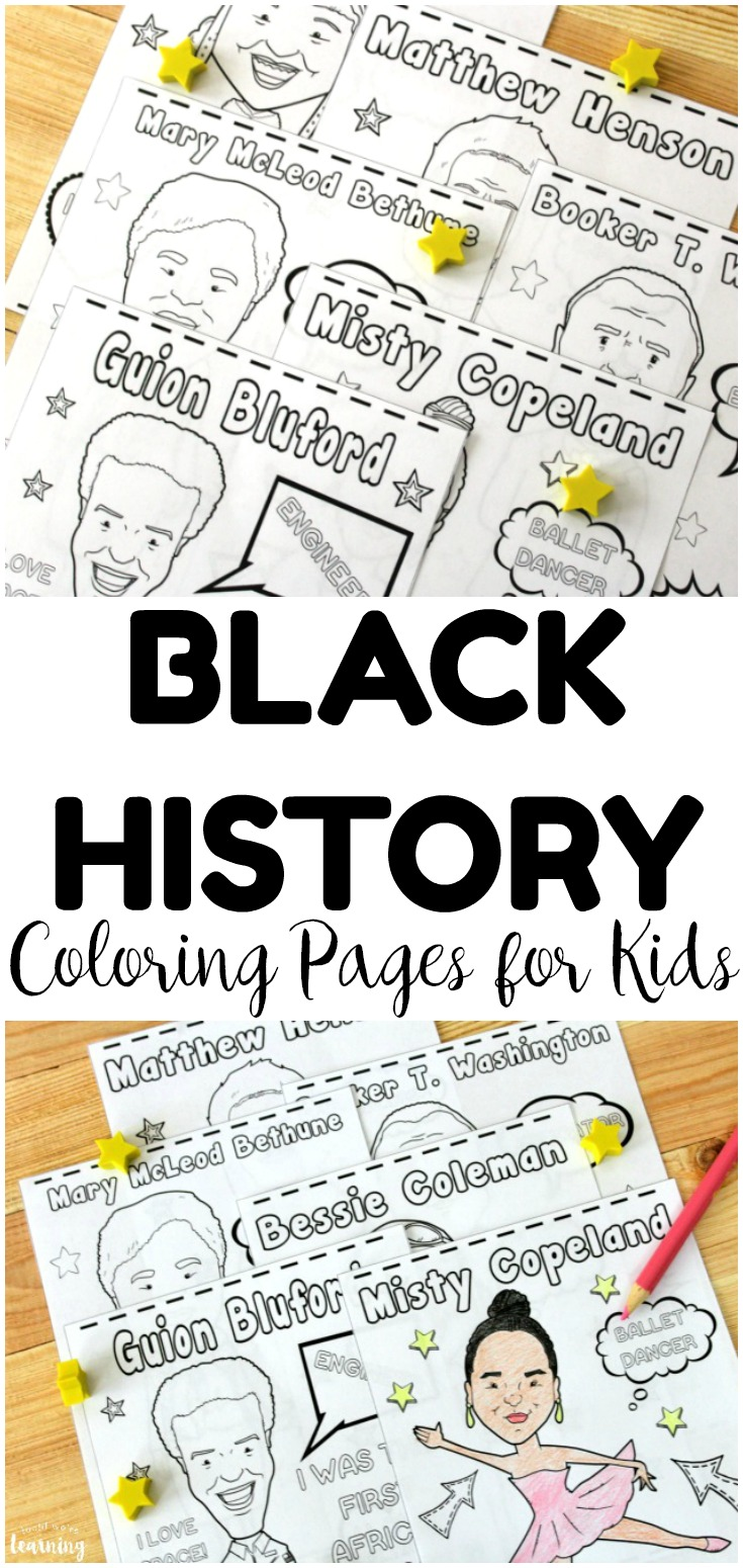 Teach kids about important people in black history with these black history figure coloring pages! Perfect for a quick history activity!