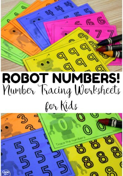These printable robot themed number tracing worksheets are great for penmanship practice! Or laminate them to use at math centers!