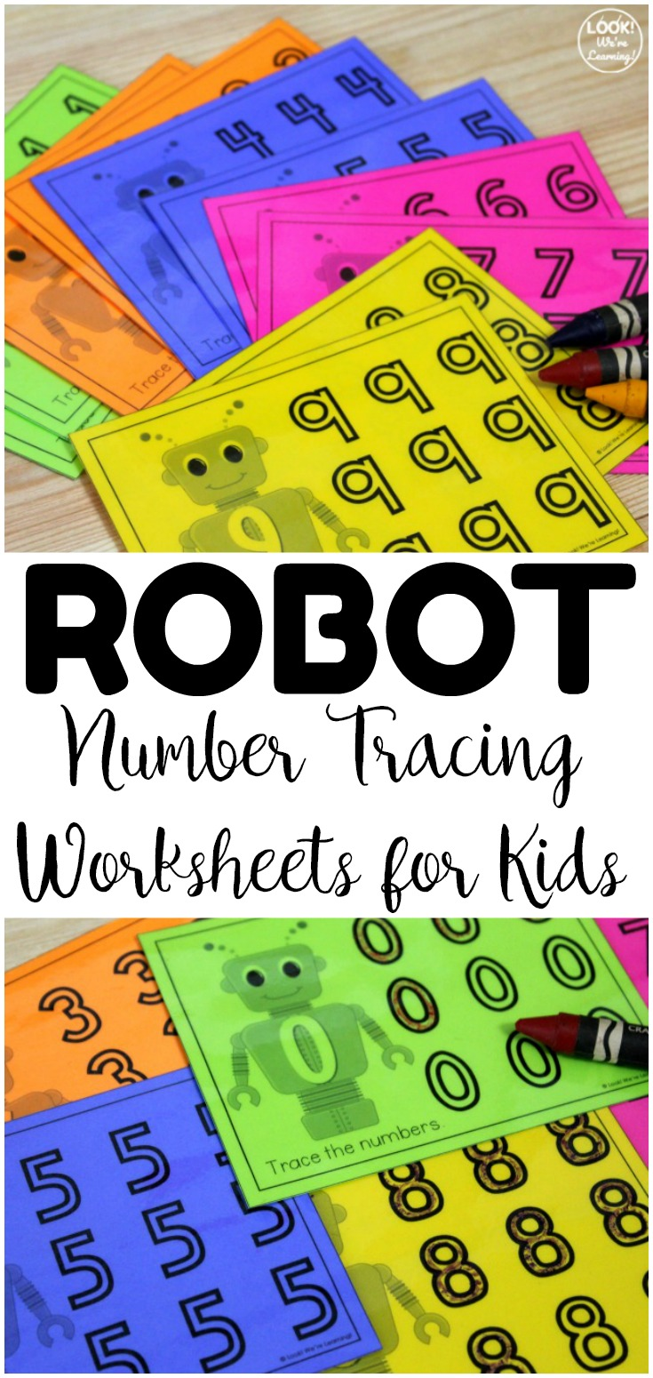 These robot-themed number tracing worksheets are so fun for early math centers! Laminate them and use them again and again!