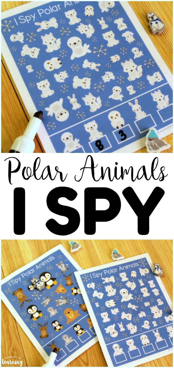 This Polar Animals I Spy Activity is a great addition to a preschool busy bag! Two different levels of difficulty for early learners!