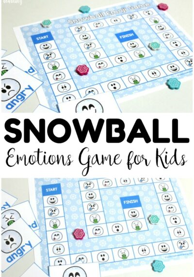 This simple snowball themed emotions game for kids is a great social skills activity! Use it during winter for a indoor play activity!