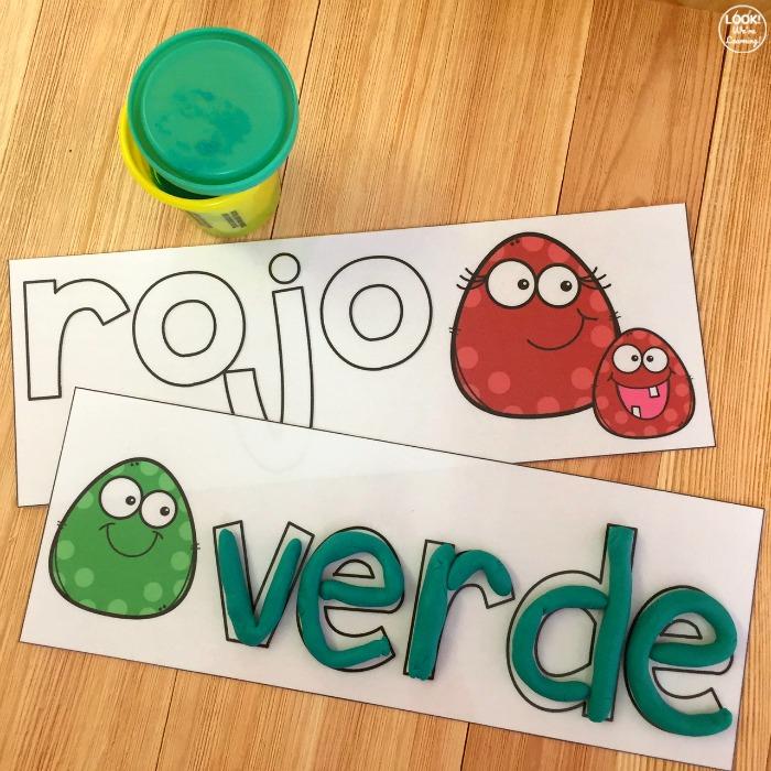Cute Spanish Color Word Playdough Mats