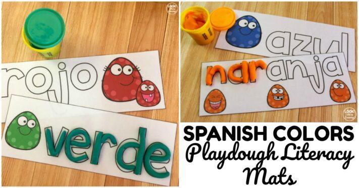 Fun Spanish Color Word Playdough Mats