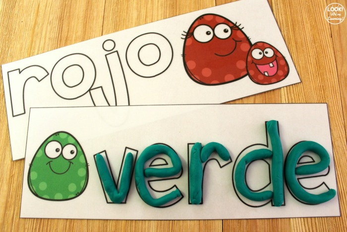 Printable Spanish Color Word Playdough Mats for Kids
