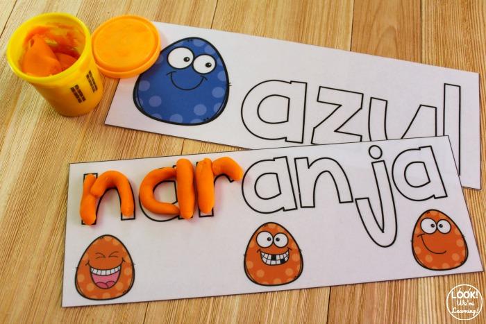 Printable Spanish Color Word Playdough Mats