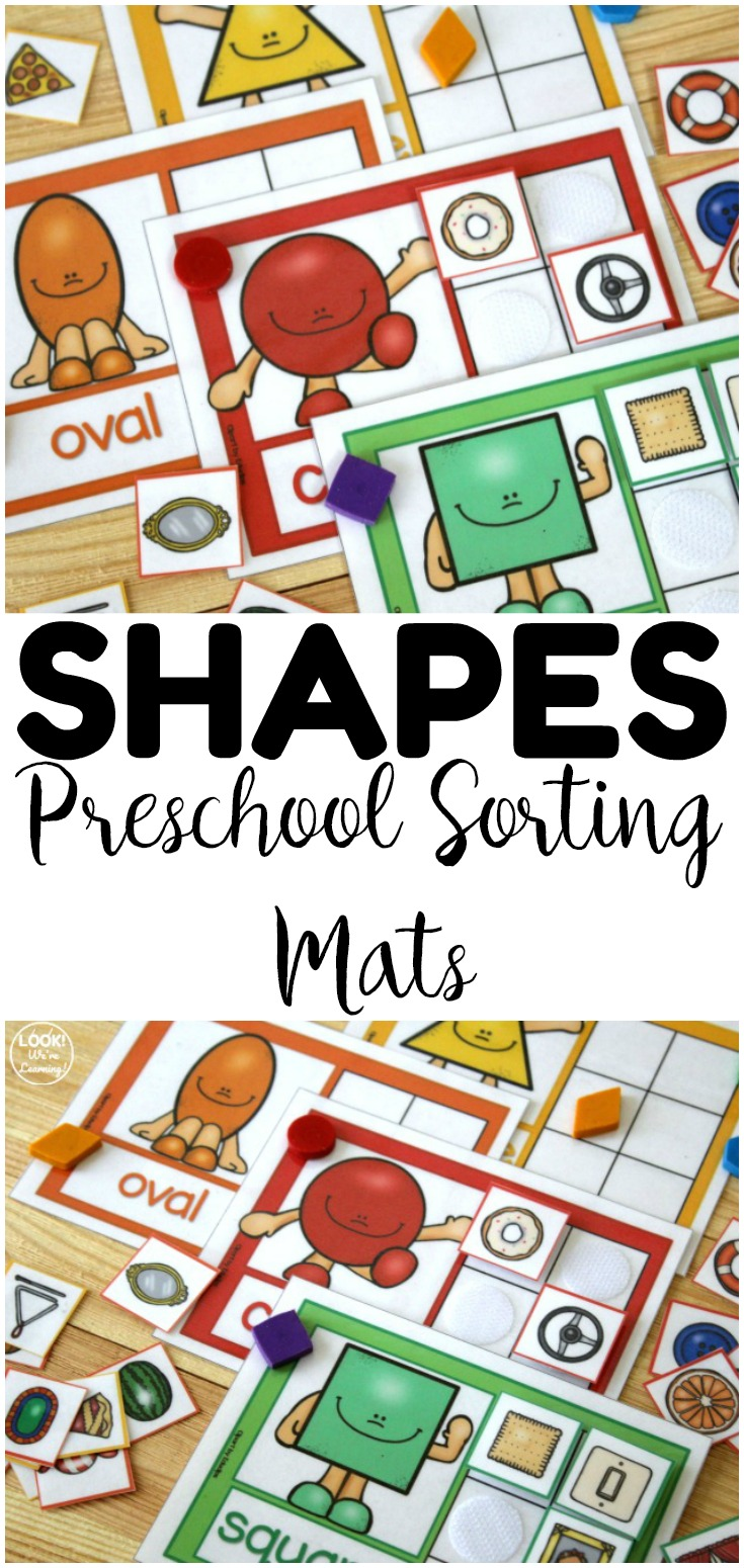 Share these fun preschool shape sorting mats with early learners! Great for morning tubs and math centers too!