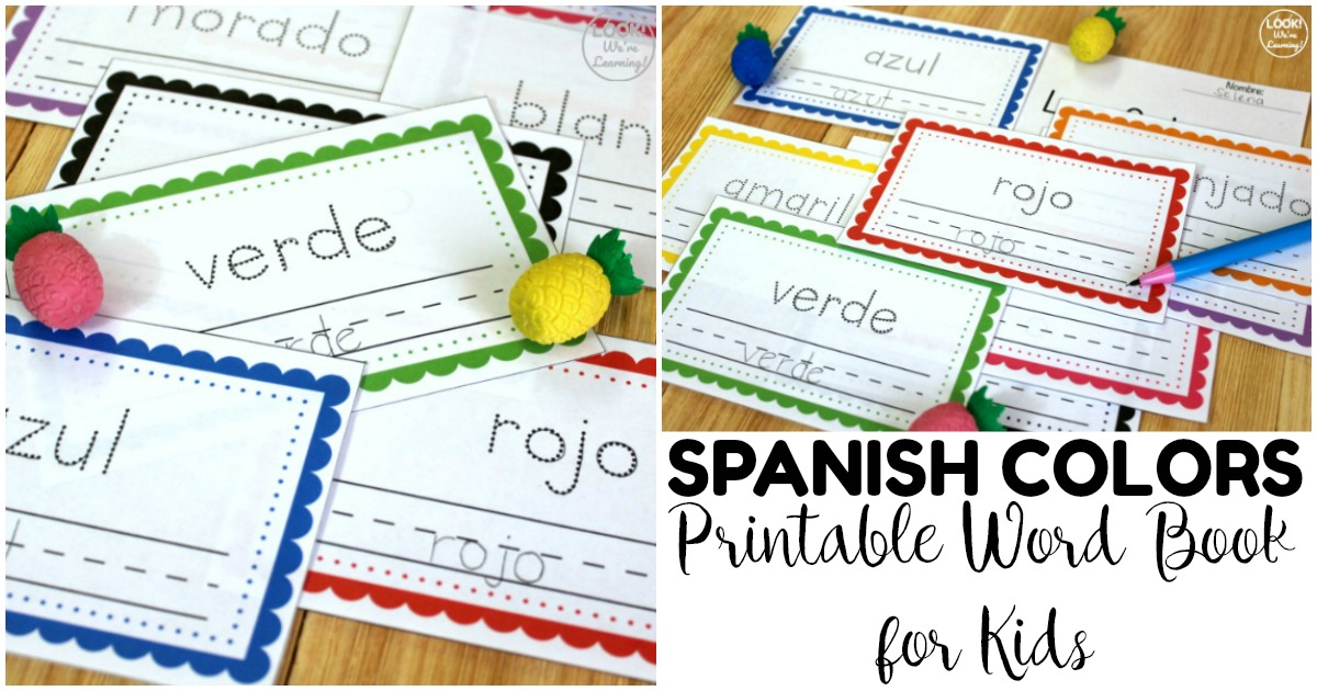 Simple Spanish Colors Word Book for Kids