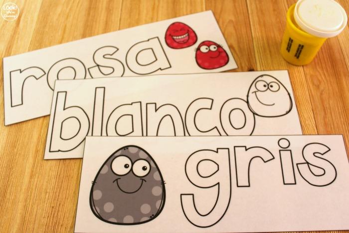 Spanish Color Word Playdough Mats for Kids