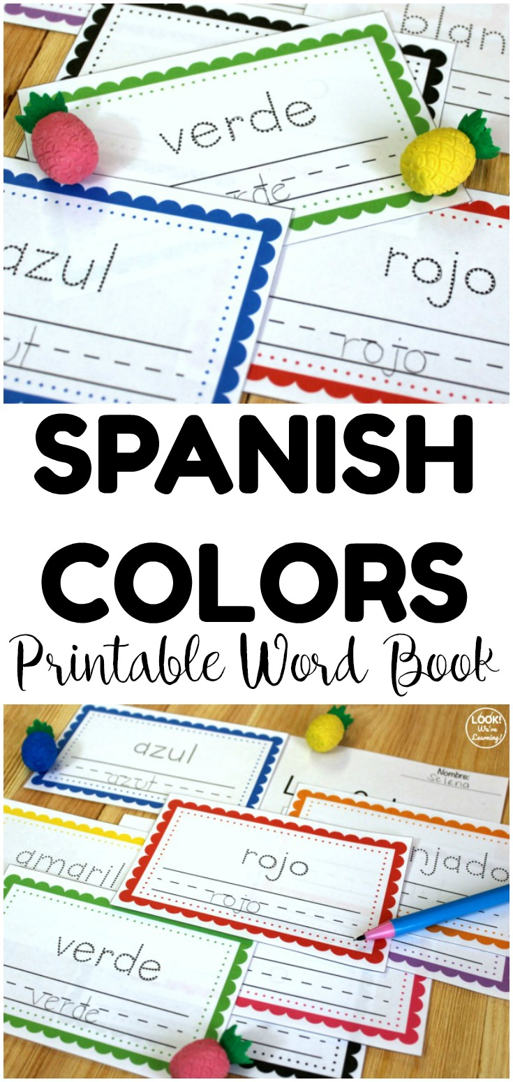 This printable Spanish colors word book is perfect for teaching early students to say colors in Spanish! Includes tracing lines for fine motor practice too!