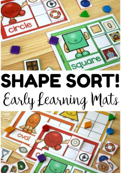 Teach early learners to recognize shapes all around them with this preschool shape sorting activity! Great for reusing at centers or in morning tubs!