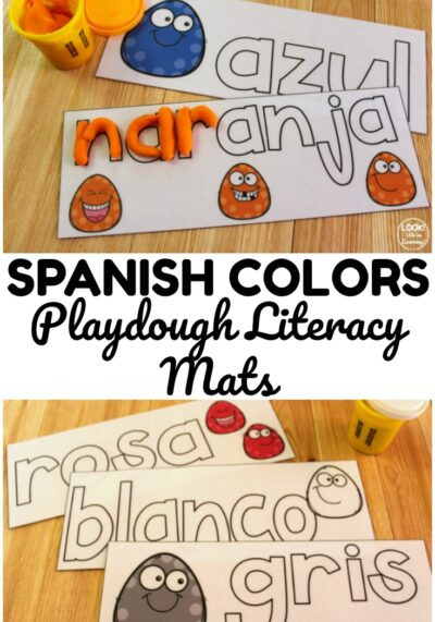 These Spanish color playdough mats are a wonderful hands on resource for early learners, Spanish language learners, and ESL students!