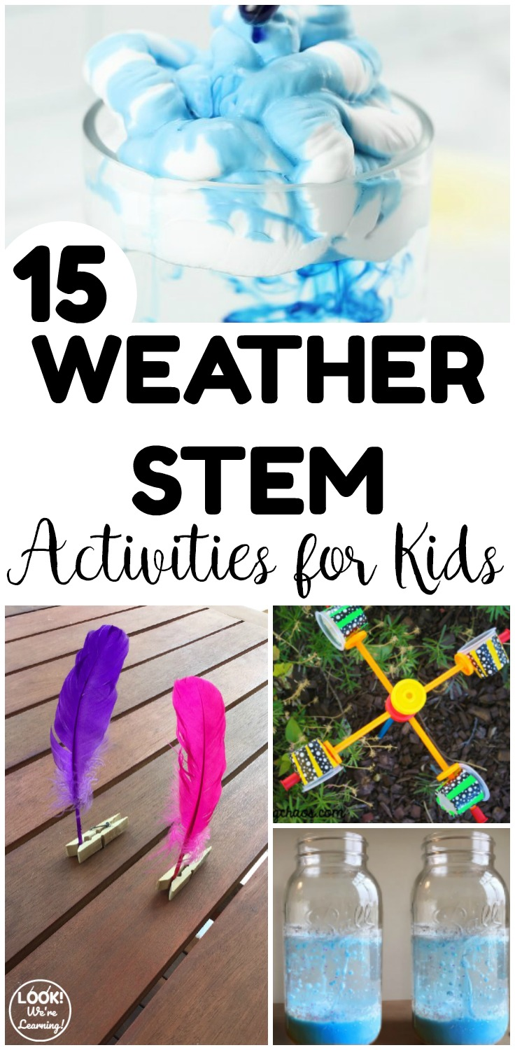 These fun weather STEM activities for kids are perfect for spring science experiments at home or in the classroom!