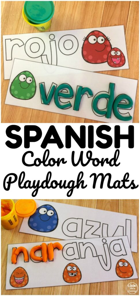 These printable Spanish color word playdough mats are perfect for early learners who are practicing color recognition! Great for early literacy centers too!
