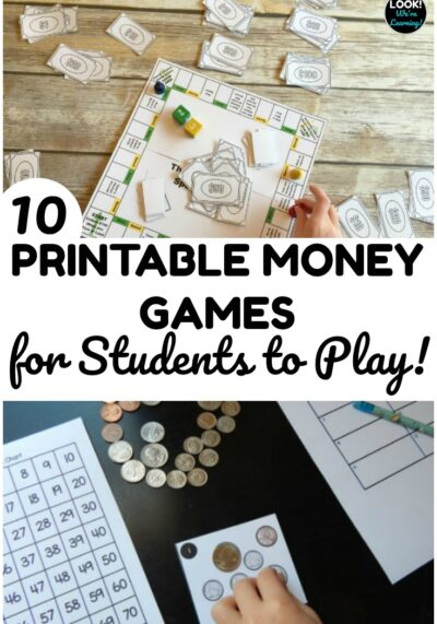 These printable money games for kids are perfect for quick math lessons! Let students play them for a hands-on money activity!
