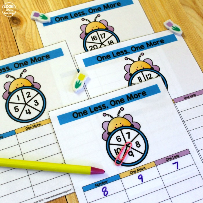 Bee Themed Spin and Count Math Center
