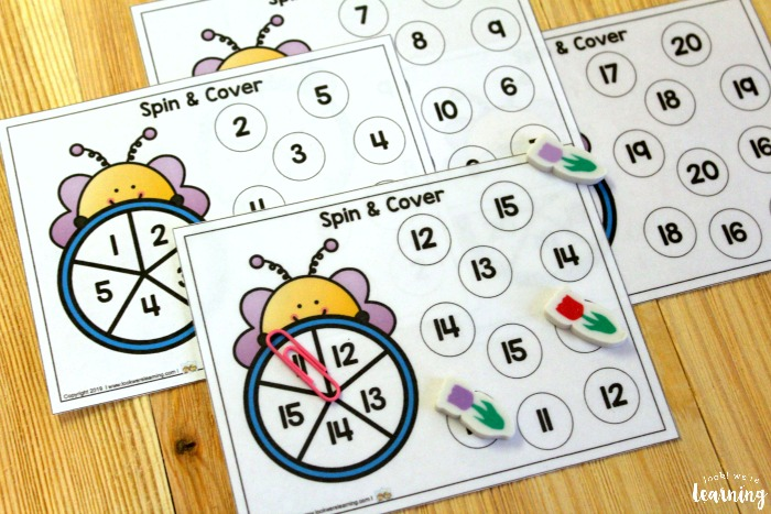 Bee Themed Spin and Cover Math Activity