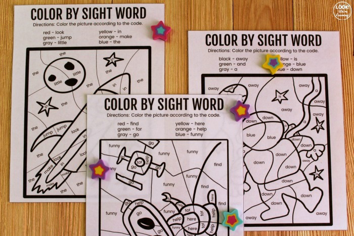 Color by Sight Word Activity for Kids
