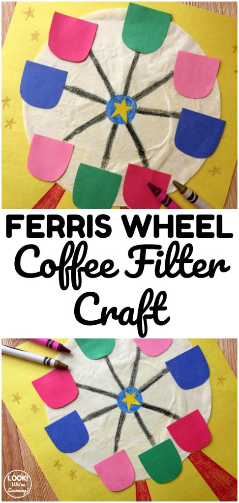 Gather a few household supplies and make this easy coffee filter Ferris wheel craft! So fun for indoor crafting!
