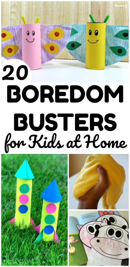 If your kids are stuck at home, they will love this list of 20 easy boredom busters for kids! Great for school breaks, rainy days, and more!