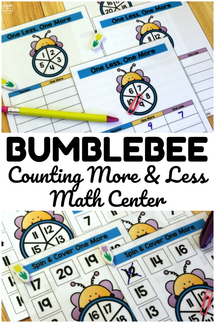 Pick up this bee themed counting one more and one less math center to help early learners practice counting on during spring!